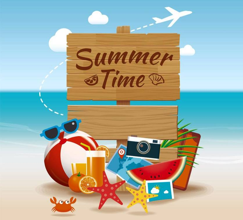 Coloured animated Summer Time sign on the beach