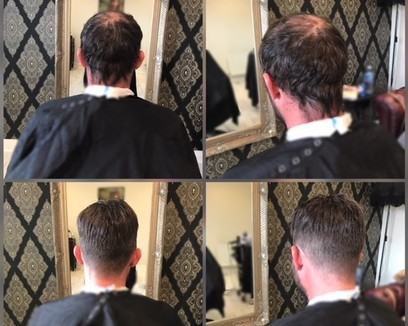 Man receiving a new hair piece at KA Hair Solutions studio in Dublin